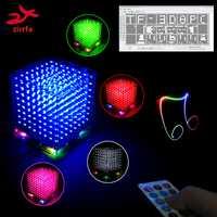 Nuevo 3D 8 s 8x8x8 mini mp3 música luz cubeeds kit de incorporada de espectro de audio para TF tarjeta de electrónica led kit de bricolaje