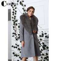 CKMORLS mujeres Fox Cuello de piel chaquetas gris largo más tamaño abrigo de piel Real Parkas calle Harajuku Goth Parka chaqueta Casual