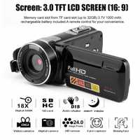 Videocámara Digital Full HD de visión nocturna portátil videocámara DV 1920x1080 3,0 pulgadas 24MP LCD 18X Zoom