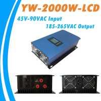 2000 W viento onda sinusoidal pura MPPT Grid Tie inversor para aerogeneradores AC45-90V entrada AC185V-265V salida refrigeración ventiladores