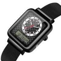 SENORS 2018 relojes para hombre marca superior reloj de cuarzo de lujo de moda para hombre, reloj deportivo de doble pantalla, correa de acero inoxidable para hombre
