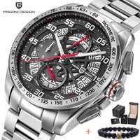 Relojes de marca de lujo para hombre, relojes de cuarzo de acero inoxidable a prueba de agua con diseño PAGANI