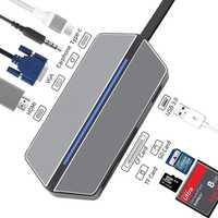 USB-C Hub, 8 en 1 Adaptador multipuerto tipo C a HDMI VGA, thunderbolt 3 Dock USB tipo c Hub DockUSB 3,0 Hub con conector de 3,5 MM