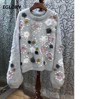 Jersey suéteres 2019 de Moda de Primavera de las mujeres bordado de apliques de lentejuelas cordón Casual de manga larga suéteres de punto