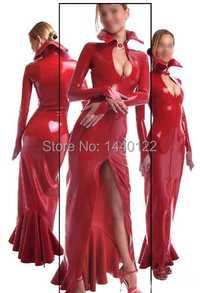 De manga larga vestido maxi para las mujeres de látex de goma roja vestidos vestidos fetiche delgada vestidos de fiesta más el tamaño caliente de la venta Del Personalizar servicio