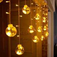 Bolas LED de carámbano de cortina de 3m y 12 Deseos, luces de hadas para fiestas navideñas, guirnaldas de fiesta de cumpleaños, bodas, Guirlande Lumineuse