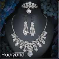 Hadiyana de lujo grande 4 pc conjunto de joyas con Zirconia cúbico boda fiesta árabe saudita Dubai collar y pendientes y brazalete Y anillo conjuntos CN170