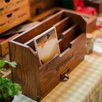 Escritorio de madera caso de contenedor de almacenamiento de cajas caja de madera jarrón lápiz joyas cofres del Tesoro de almacenamiento de titular suministros