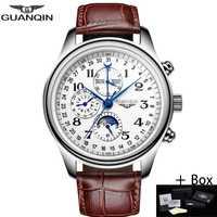 GUANQIN automático mecánico de los hombres relojes de lujo superior impermeable fecha calendario luna de cuero Masculino, reloj Masculino, un