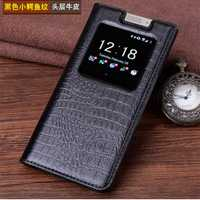 Étui en cuir véritable pour Blackberry KEYone étui en cuir véritable Crocodile Grain Flip sac de couverture de téléphone pour Black Berry DTEK70 4.5