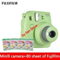 Nueva 5 colores Fujifilm Instax Mini 9 cámara instantánea foto + 80 hoja Fuji Instax Mini 8 película en blanco + close up lente envío gratis
