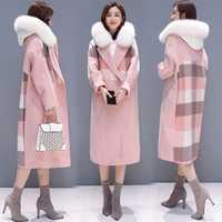 Coreano 2018 otoño e invierno abrigo de cuadros de moda de las mujeres gran Fur Collar doble Breasted mujer abrigo Plus tamaño abrigo largo