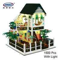 XingBao 01202 confort Villa romántica corazón con USB Luz Casa de Campo Building Block ladrillos juguete educativo divertido de 1500 piezas