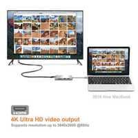 Salida de vídeo 4 K Ultra HD multifunción 3 puertos USB 3,0 HUB tipo C a HDMI TF lector de tarjetas SD para Macbook Pro PC JLRL88