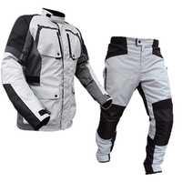 LYSCHY verano invierno Detechable impermeable chaqueta de la motocicleta de malla transpirable chaqueta Moto pantalones traje de ropa de protección