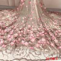Encajes 3D 2019 de alta calidad, tela de encaje nigeriano con cuentas 2018, encaje de tul francés bordado con piedras para KS2113B-5 de novia