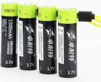 4 unids 1500 mAh Lipo del polímero del litio batería 3.7 V pila recargable 18650 + 1 unids cable USB para linterna powerbank