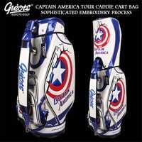 Sac de chariot de Golf USA Captain America sac de personnel de tournée de Golf en cuir PU avec capuche de pluie 5 voies pour hommes femmes