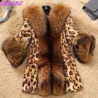 Chaquetas de piel de imitación de otoño invierno de mujer Boutique abrigos de piel de visón de leopardo collar de piel de mapache de imitación chaquetas de piel de talla grande OKXGNZ 1256