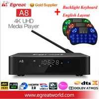 Egreat A8 Super HD 4 K 60Hz Android TV Box soporte BD menú de 3,5 pulgadas HDD SATA HDR10 WiFi Bluetooth Dolby 4,0 DTS-HD reproductor de medios