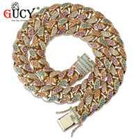 GUCY Hip Hop 14 MM collar de cadena cubana Micro Pave Multicolor piedras de circón cúbico collares de cadena oro Color plata hombres joyería de