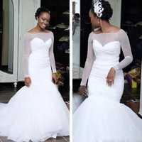 Mejor venta nuevo estilo sirena de manga larga vestidos de novia de longitud hasta el suelo imágenes increíble vestido de novia africano 2020