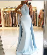 Bebé azul desmontable tren vestido de noche sirena cuello alto sin mangas Top de encaje con cuentas satinado talla grande ajustado vestidos de graduación Dubai