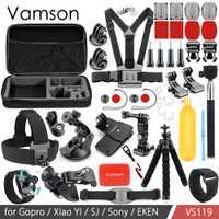 Vamson accesorios para Go Pro Set 3 vías montaje Base colección adaptador para Gopro Hero 6 5 4 3 + para Xiaomi Yi para SJ4000 VS119