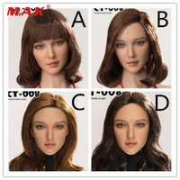 CT008 A/B/C/D estilos 1:6 Asia hermosa cabeza esculpir rizos tallados pelo para 12 ''Phicen Suntan cuerpo de figura de acción accesorio