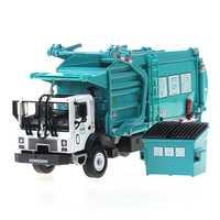 Materiales de aleación de camión de basura Vehículo de limpieza modelo 1:24 camión de basura de saneamiento camiones limpia coche de juguete chico regalo