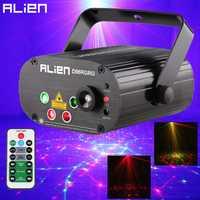 ALIEN 96 patrones Dual rojo verde Proyector láser azul LED escenario efecto Iluminación DJ discoteca fiesta boda luz con control remoto