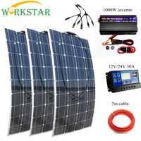 WORKSTAR 3 piezas 100 W paneles solares flexibles 12 V 12 V Cargador Solar para RV/barco coche Solar de 300 w sistema para principiantes al aire libre Cargador Solar