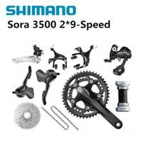 Shimano sora 3500 groupets groupset del bicicleta de carretera bicicleta negro grupo set170 50-34 11-25, 2*9 velocidad