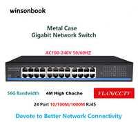 24 Port RJ45 Lan interruptor, interruptor de Ethernet, Gigbit interruptor con 24 RJ45 Port gigabit switch para cámara ip ap inalámbrico
