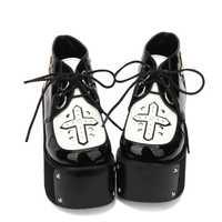 Princesa dulce punk zapatos primavera y otoño gótico oscuro Lolita súper zapatos de tacón alto del mollete punky Cruz decoración pu9702