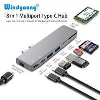 Dual USB-C Hub a Mini adaptador de pantalla 5 K 60 hz admite expansión SSD con PD/datos TF SD lector de ranura USB 2,0/3,0 para MacBook Pro