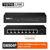 Interruptor de red Ethernet de escritorio TOTOLINK Lan Hub dúplex Exhange con 4 puertos compatible con enchufe PoE y Play SW804P