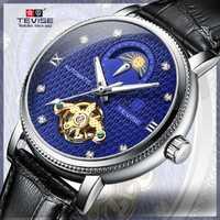 Relojes mecánicos TEVISE hombres de marca superior de lujo esqueleto automático reloj impermeable de cuero genuino reloj deportivo para hombres azul