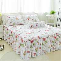 3 unids flor blanca de lujo cama falda almohada cama conjunto rey princesa colchón Twin full Queen tamaño cama textil