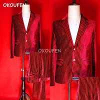 Club nocturno Bar hombre cantante anfitrión DJ rojo caliente de terciopelo de oro Delgado traje de los hombres es rojo rendimiento trajes
