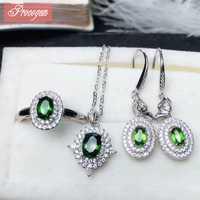 Natural Diopised joyería de las mujeres establece collar/anillo/pendientes de 5x7mm Oval de piedras preciosas de moda de joyería fina s925silver 18 K oro #108
