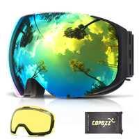 COPOZZ Magnétique Lunettes de Ski avec Interchangeables Jaune Lentille Anti-buée et UV400 Protection Snowboard Lunettes pour Adulte Hommes Femmes