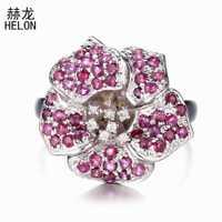 Anillo de compromiso de diamantes naturales de rubí de CT sólido anillo de boda de piedras preciosas de oro blanco de 14 k para Mujer Flor de moda fina joyería