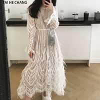 Vestido de las mujeres nueva moda Primavera Verano de elegante borlas plumas sexy formal Fiesta blanco pista larga manga de malla vestido