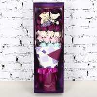 Regalo romántico Día de San Valentín oso de peluche 3 capas jabones Rose flores Bañeras grandes pétalos idea Navidad/boda/ regalo del partido
