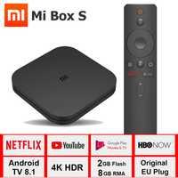 Xiao mi mi Boîte S 4 K TV Box Cortex-A53 Quad Core 64 peu Mali-450 1000Mbp Android 8.1 2 GB + 8 GB HD mi 2.0 2.4G/5.8G WiFi BT4.2 TV Box
