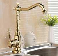 Nuevas llegadas estilo europeo Retro y superficie de oro grifo de la cocina baño cuenca grifo del fregadero de latón grifo mezclador grifo de agua