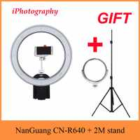 NanGuang CN-R640 R640 fotografía Video Studio 640 LED continuo Macro anillo luz 5600 K día iluminación + trípode + titular + espejo