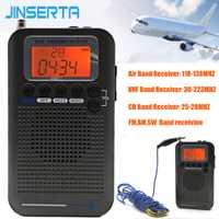 JINSERTA aviones de banda completa Radio VHF receptor de Radio portátil FM/AM/SW/CB banda mundial estéreo grabadora con alarma reloj pantalla LCD