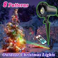 Vacaciones al aire libre luz láser Proyectores Navidad tema Pegatinas para uñas jardín césped paisaje decoración luces impermeable IP68